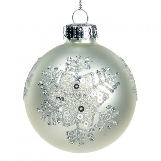 Danish Collection Glass Bead and Sequin Bauble - Matte White