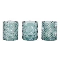 Danish Collection Glass Candle Holder with Zigzag Design - Dark Green