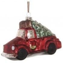 Danish Collection Glass Car with Christmas Tree - Red