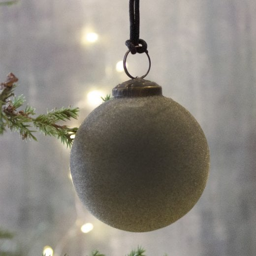Danish Collection Glass Flocked Bauble - Green