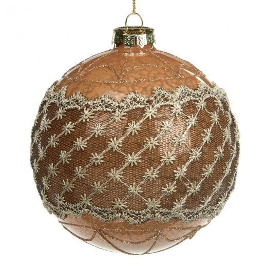 Danish Collection Glass Flower Lace Bauble - Antique Brown