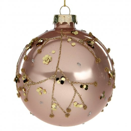 Danish Collection Glass Glitter Twig Bauble - Pink/Gold