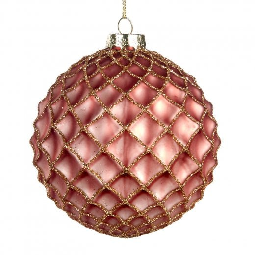 Danish Collection Glass Netted Bauble - Pink/Gold