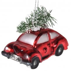 Danish Collection Glass Ornament of Car and Tree - Red