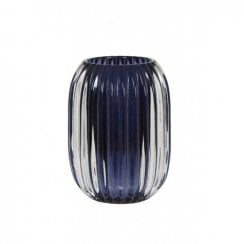 Danish Collection Glass Pertu Candle Holder - Dark Blue