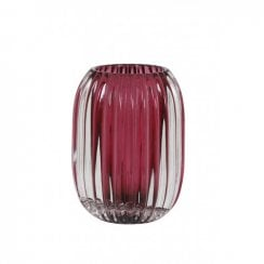 Danish Collection Glass Pertu Candle Holder - Dark Pink