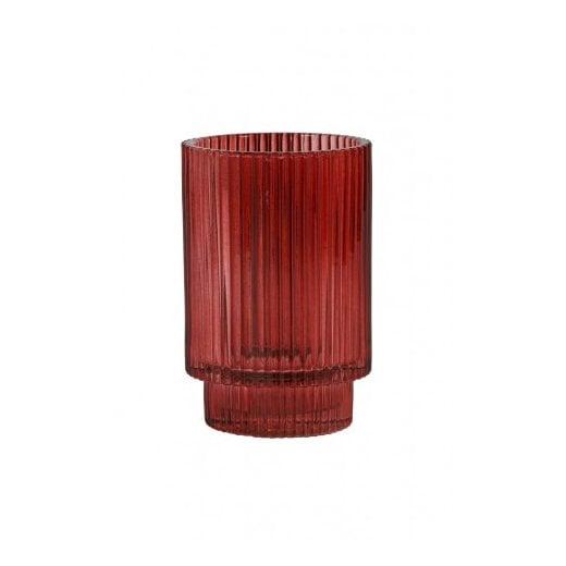 Danish Collection Glass Philon Tealight Holder - Burgundy