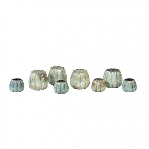 Danish Collection Glass Round Tealight Holder - Verdigris