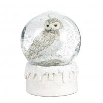 Danish Collection Glass Snow Globe with Owl - White