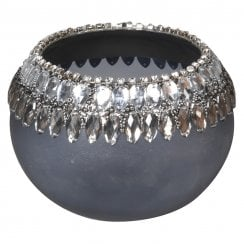 Danish Collection Glass Tealight Holder with Diamante - Silver
