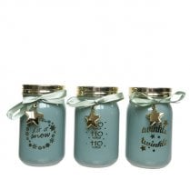 "Danish Collection Glass Tealight Holder With ""HO, HO, HO"" - Blue"