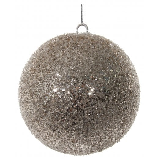 Danish Collection Glitter Beaded Large Bauble - Champagne