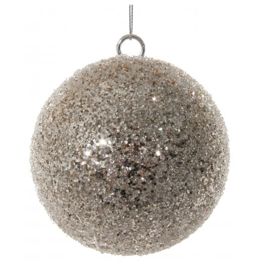 Danish Collection Glitter Beaded Small Bauble - Champagne