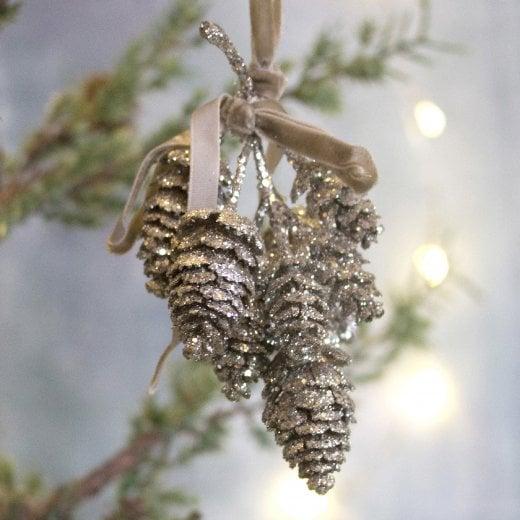 Danish Collection Glitter Cone Ornament - Silver