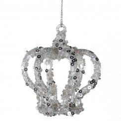 Danish Collection Glitter Covered Crown Ornament - Silver