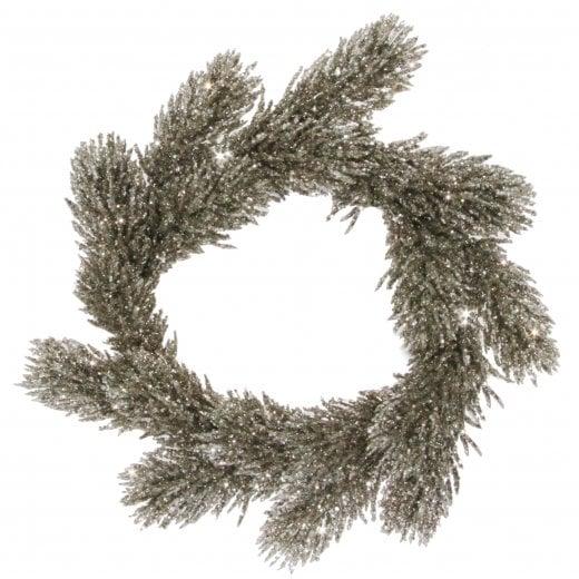 Danish Collection Glitter Fir Wreath - Silver