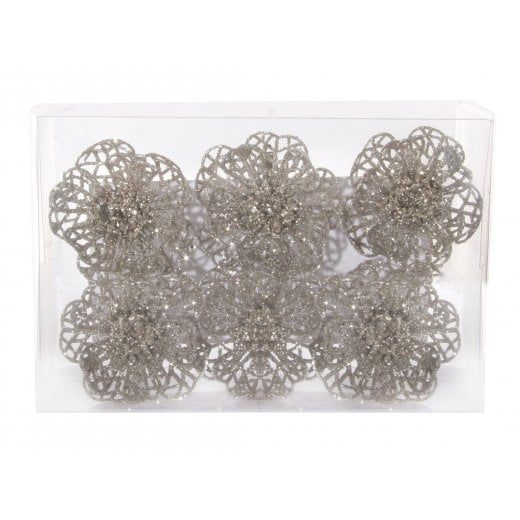Danish Collection Glitter Flower on Clip - Silver