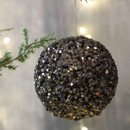 Danish Collection Glitter Large Bauble - Black-green