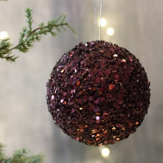 Danish Collection Glitter Large Bauble - Burgundy