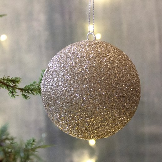 Danish Collection Glitter Large Beaded Bauble - Champagne