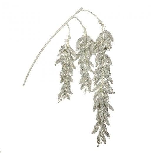 Danish Collection Glitter Pine Stem - White