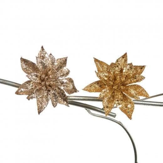 Danish Collection Glitter Poinsettia - Gold/Champagne