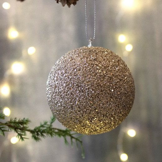 Danish Collection Glitter Small Beaded Bauble - Champagne
