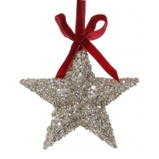 Danish Collection Glitter Star Ornament with Bow - Silver