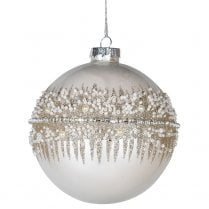 Danish Collection Glitter Strip Pattern Bauble - White