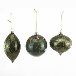 Danish Collection Glittered Glass Baubles - Green/Gold