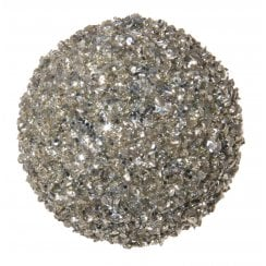 Danish Collection Glittery Glass Bauble - Silver