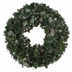 Danish Collection Glittery Wreath with Leaves - Blue-green
