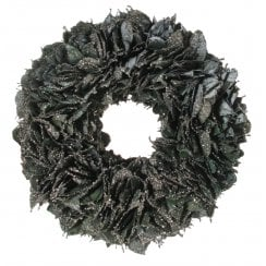 Danish Collection Glittery Wreath with Leaves - Blue