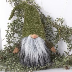 Danish Collection Gnome With Green Hat - Green/Grey H70CM