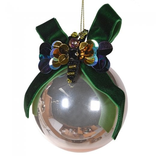 Danish Collection Gold Glass Bauble with Bee