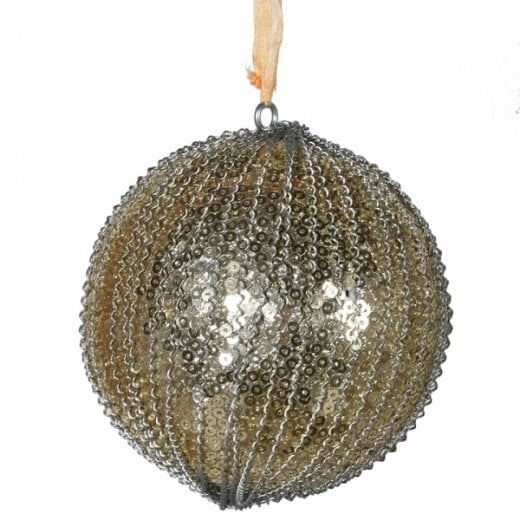 Danish Collection Gold Sequin Bead Bauble - Gold