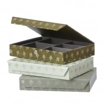 Danish Collection Green Feather Patterned Jewellery Box - Large