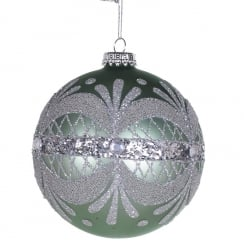 Danish Collection Green Glitter Band Bauble