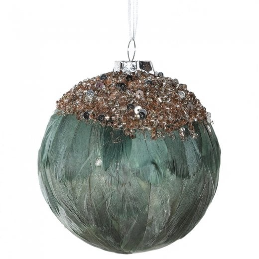 Danish Collection Grey Feather Bauble