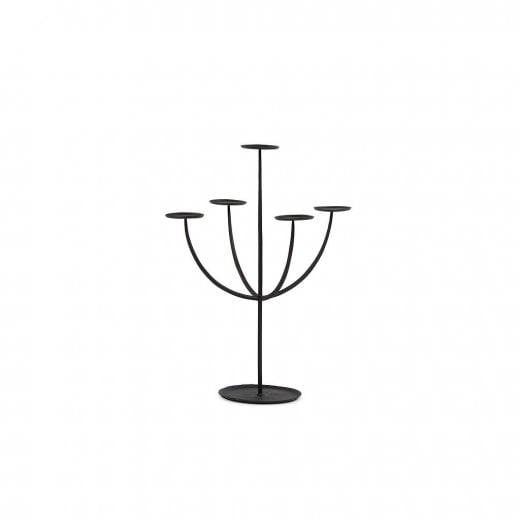 Danish Collection Hand Forged Pillar Candle Holder - Black
