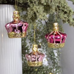 Danish Collection Hanging Decoration Crown - Pink Colours D8cm