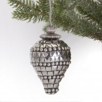 Danish Collection Hanging Decoration - Silver Mosaic H10cm