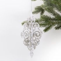 Danish Collection Hanging Glitter Decoration H10cm