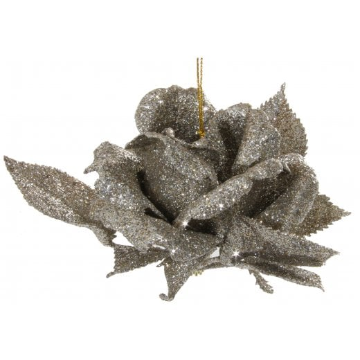 Danish Collection Hanging Glitter Rose - Champagne