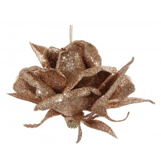 Danish Collection Hanging Glitter Rose - Gold