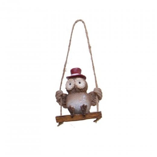 Danish Collection Hanging Owl On Swing - H6cm