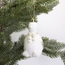 Danish Collection Hanging Penguin - White With Gold H9cm