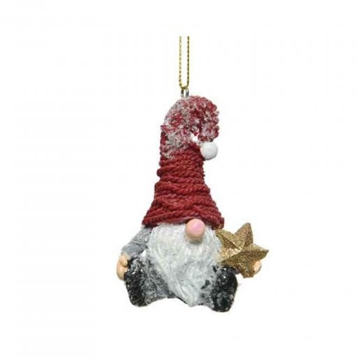 Danish Collection Hanging Santa With Star - Red/Green H8cm