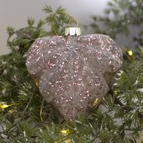 Danish Collection Heart Decoration - Champagne Pink H10cm