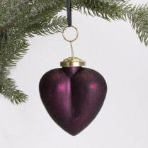 Danish Collection Heart Decoration - Purple H8cm
